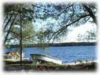 View of Paradise Lake. Use our docks and our boats for free, or feel free to bring your own boat.